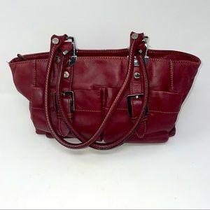 Tignanello Purse Hobo Strap Leather Burgundy
